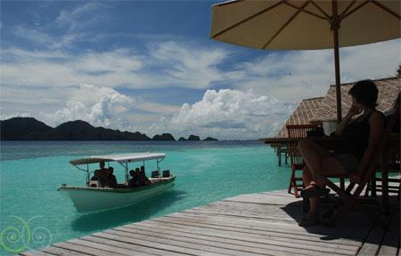 Misool Eco Resort_W Papua_DiveBoatReturningUmbrellaWeb_www.misoolecoresort.com
