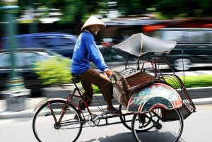 Becak in Yogja, Central Java-photo flickr member javajive