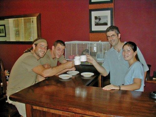 Steve-o and Chris from MTV's Wildboyz testing their stomach strength, enjoying a Cuppa Luwak