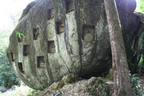 A common sight of burial caves in Toraja Highlands, South Sulawesi