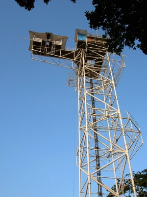 The terrifying bungy tower.
