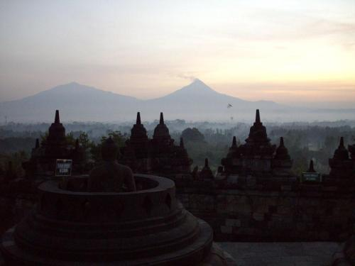 Mt. Merapi as seen from Borobudur Temple.