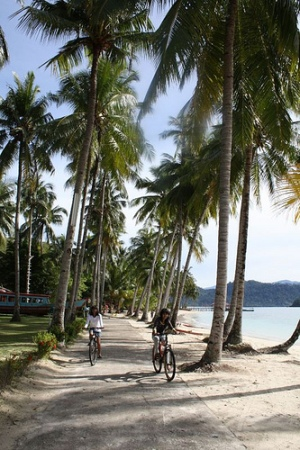 Enjoying Sikuai Island on two wheels. Photo: Riky Kurniawan