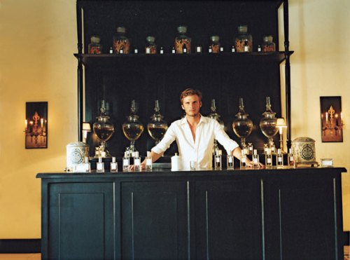 Model and hotelier Nicolas Malleville at his Coqui Coqui Perfumery in Valladolid